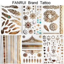 2019 tatuajes falsos de las muchachas Sexy Sun Moon Star Tatuaje Temporal Mujeres Partido Cuerpo Brazo Arte Falso Flash Tatoos Oro Metálico Tatuaje Pegatinas Chica Pulsera Muñeca rebajas tatuajes falsos de las muchachas