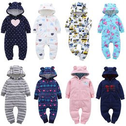 2019 macacão de urso bebê Outono Inverno Infante recém-nascido roupa do bebê velo Macacão Meninos Romper com capuz Macacão Urso Onesie do bebê roupas de inverno bebê V191112 macacão de urso bebê barato