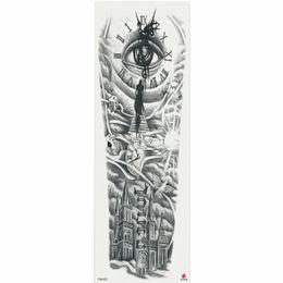 Braços do relógio on-line-1 Peça Relógio Olho Cidade Padrão Etiqueta Do Tatuagem Temporária Com Braço Body Art Grande Manga Grande Falso Etiqueta Do Tatuagem