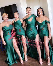 2019 vestidos de primavera para convidados 2020 Chegada Nova Cheap uma linha de dama de honra Dresess quatro estilos Off ombro até o chão Com a divisão Sexy Maid Of Honor Vestidos Vestidos Formais