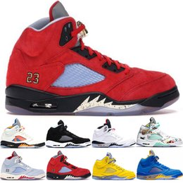 Frauen flügel sportschuhe online-Nike Air Jordan 5 Retro Neue Ankunft 5 Männer Frauen Basketball Schuhe 5 s Ice Blue Inspire Laney Blau Gelb Trophy Room Wings Trainer Sport Turnschuhe Größe 36-47