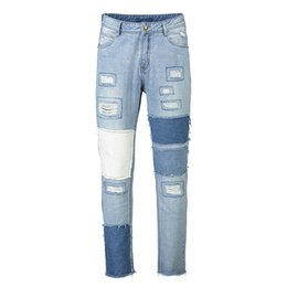 длинные широкие джинсы Скидка Fashion Men's Long Jeans Stitching Wide-leg Denim  Pants Male Worn Out Loose Jeans New