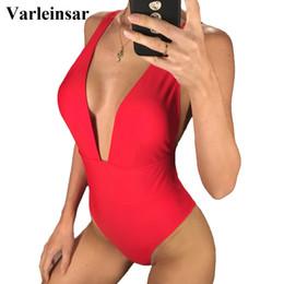 Rojo, negro, blanco, 2019, mujeres, traje de baño, cuello en V profundo, una pieza, traje de baño, bañista, cintura alta, traje de baño, ropa de baño, señora v1035 desde fabricantes