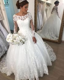 puffy church dresses Promo Codes - Ball Gown Corset Wedding Dresses Vintage Long Sleeves Lace Appliques Sequins Puffy Arabic Dubai Dresses Formal Church Bridal Gowns Plus Size