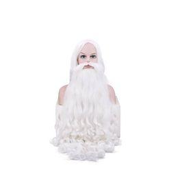 80cm Unisex Natale bianco capelli parrucche Cosplay Babbo Natale Cosplay BeardWig Set da barba bianca cosplay fornitori