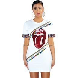 Vestido elástico de manga curta de algodão on-line-Cy8120, fundo Elastic Force algodão tricô T pena mulher manga curta pérola Piece Chartlet pendurado Beads Dress