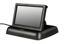 Monitor dobrável on-line-4.3 polegadas retrovisor do carro monitor HD Car Monitor sem fio Invertendo Camera Parking System Image reverso Folding design 12V