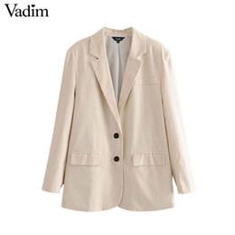 шикарные женские пальто Скидка Вадим женщины старинные сплошной пиджак карманы однобортный с длинным рукавом офисная одежда женская повседневная верхняя одежда шикарные топы CA488