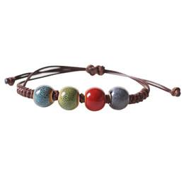 Pulseira cerâmica jingdezhen on-line-Atacado incrível Hand-woven pulseira de cordão com vento nacional Pulseira Jingdezhen Esmalte colorido contas de cerâmica jóias frete grátis