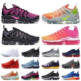 Nike Air Vapormax Plus TN Mais de Almofadas Running Shoes sol geométrica Triplo Black White Grey crianças de prata vermelhos esportes das mulheres dos homens do desenhista tênis de Fornecedores de camo skate