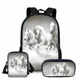 85e5abe39cd39 3 teile   satz 3D Crazy Horse Print Schulrucksack Set für Teenager Mädchen  Jungen Coole Kombination Kinder Kinder Bagpack Kind Bookbags