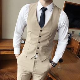 2019 abito classico di colore navy New Classic Pure Colour Mens Suit Vest, nero, grigio, kaki, blu navy, Business Wedding Men Gilet Taglia S-3XL Dress Men Gilet sconti abito classico di colore navy