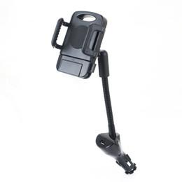 Accenditore auto del supporto del telefono online-In base per auto Accendisigari Supporto per telefono Supporto per caricatore per auto Supporto per caricatore per auto elettrica singola USB