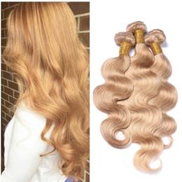 # 27 Trama del pelo Real Brasileño Virginal Cuerpo de la armadura de la onda Miel Color Rubio Extensiones de cabello humano barato 3 Unids / lote desde fabricantes