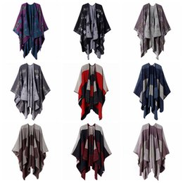 Вязание шарфов кисточки онлайн-10styles Plaid star Poncho Scarf Tartan Winter Cape Grid Shawl Cardigan Cloak Tassel Wraps Girl Knit Scarves Coat Sweater Blankets FFA2874-1