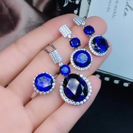 blaue saphir-halsketten-sets Rabatt Blue Sapphire Edelsteinschmuck-Set inklusive Ringohrring mit 925er Silber