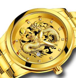 2019 calendário de negócios grátis 2019 dos homens de negócios relógio de ouro relógio de pulseira de aço à prova d 'água calendário dragão casal casual assista frete grátis desconto calendário de negócios grátis