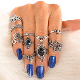 hamsa rings Coupons - whole saleWLP Vintage Fatima Hamsa Hand Ring Sets For Women Turkish Silver Color Synthetic Stone Elephant Elephant crown Midi Rings