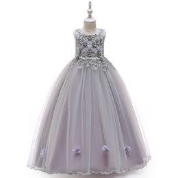 2019 vestidos cheios da menina de flor de tule Flor bordada frisada meninas vestidos de baile com arco crianças ruffle tule linda princesa longa vestido de boll formal completo vestido de festa de casamento vestidos cheios da menina de flor de tule barato