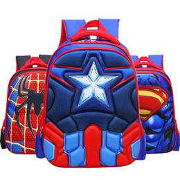 Bolsa da escola superman on-line-Spiderman Anime Mochila Capitão América Superman Ironman School Bag Crianças Escola Primária Mochilas Mochilas Escolares Presente