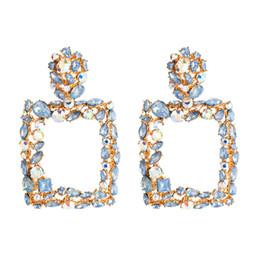 Boucles d'oreilles de marque de luxe en Ligne-Nouvelle Arrivée Strass Lettres Marque Designer Boucles D'oreilles Femmes Bling De Mode Gland Boucle D'oreille De Luxe Cerceau Boucles D'oreilles Bijoux Cadeau