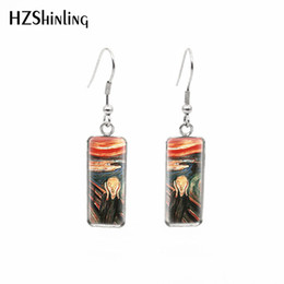 stainless steel fish hooks Coupons - 2019 New Van Gogh Paintings Fish Hook Earring The Starry Night Rectangular Earrings Glass Hand Craft Jewelry
