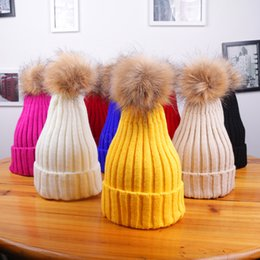 wool skull caps Promo Codes - Winter Women Knitted Hat Warm Pom Pom big Fur ball Wool Hat Ladies Skull Beanie Solid Female Outdoor Caps LJJA2808