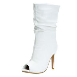 Botas x dedo del pie online-Zandina nuevas mujeres hechas a mano botas de tacón alto peep-toe Party Prom zapatos de otoño BFCM X-mas moda botín zapatos N014
