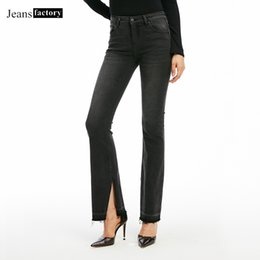 2019 pantalones negros de talla grande Pantalones vaqueros negros de cintura alta para las mujeres pantalones acampanados damas pantalones de mezclilla de moda femenina más el tamaño de los pantalones de corte de bota lavada ocasional pantalones negros de talla grande baratos