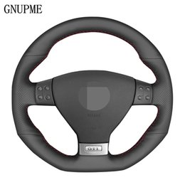 2019 tampa do volante do vw DIY Preto Couro Car Steering Wheel Cover Genuine para Volkswagen Mk5 GTI VW Golf 5 R32 Golf 5 Passat R GT 2005 desconto tampa do volante do vw