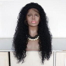 Cheveux espagnols en Ligne-Full Lace Wig Indian Remy Cheveux Humains Espagnol Curl Black Color Cheveux Front Lace Wig pour les femmes noires