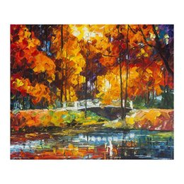 oil colour paintings Coupons - 20x24 Hand-painted oil painting colour romantic couples a picture to the sitting room sofa background walking in the street Bright style