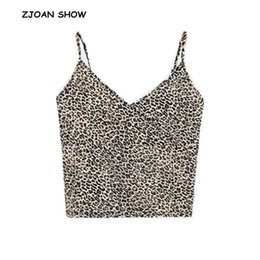 49d8fefea869d 2019 Summer New Sexy V neck Leopard Spaghetti Strap Camis Women Backless crop  Top Snake Camisetas Strappy Bra Tank Vest Tee