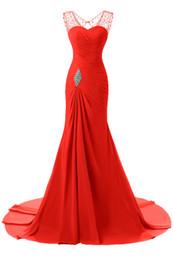 Vestido de coral línea de encanto online-Vestidos largos de noche rojos Una línea de vestidos de sirena con cuentas sin mangas Vestidos para ocasiones especiales Vestidos de fiesta con encanto personalizados por encargo