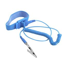 Antiestática Pulseira Esd Banda de descarga aterramento evitar choque estático Azul