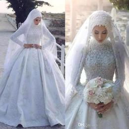 2019 vestidos de fiesta hijab Vestidos de boda de satén árabe musulmán Cuello alto Apliques Mangas largas Vestidos de novia Vestido de fiesta Vestidos de novia de novia Hijab BC1283 vestidos de fiesta hijab baratos