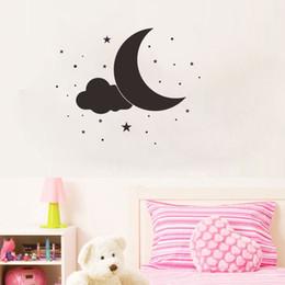 Calcomanías de pared negro para vivero online-Black Moon Stars y Cloud Wall Vinyl Stickers Extraíble Ins Art Decals para Habitación de Niños y Decoración Infantil
