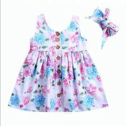Partidas únicas on-line-Crianças da criança do bebê designer de menina tanque floral dress match headband botão de verão sem mangas sundress menina infantil roupas