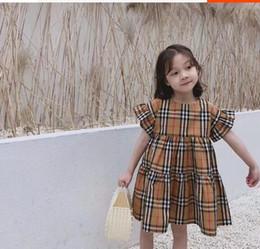 menina vestidos de impressão floral Desconto Verão 2019 Saia de meia manga de algodão de gama alta para meninas médias e grandes