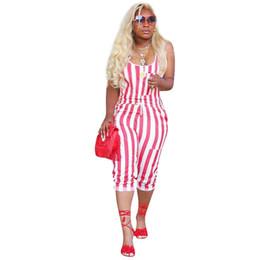 Canada Vintage Plus Size Combinaisons Femmes Imprimé Blanc Rouge Rayé Jumpsuit Discothèque Playsuit Vêtements Bohemian Summer Beach Salopette cheap bohemian clothes plus size Offre