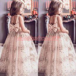 Flores de tule bling on-line-Bling lantejoulas flor meninas pageant dress bow blush tulle pouco primeiro vestido da comunhão crianças infantil criança desgaste do partido flor meninas vestidos