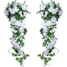 2 m lungo artificiale Vite di seta fiore di seta ghirlanda cesti appesi in vimini rattan casa matrimonio all'aperto arco decorazione della parete del giardino da fiori di seta appesi cesti fornitori