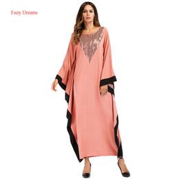 c1a07606f Loose Moslim Abaya Dubai 2018 Nuevo estilo Batwing Manga Patchwork Vestido  largo musulmán Kaftan Islámica Maxi Vestidos Sueños de hadas barato spandex  ...