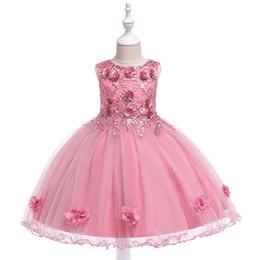Tamanho médio do vestido on-line-2019 Crianças crianças roupas Saias infantis pequenas e médias empresas no algodão vestido de princesa de algodão meninas mostram vestido ins três dimensões