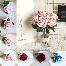 tecido rosa diy Desconto Pano rosa flor artificial rose fleece simulação festival de festa de casamento diy rosa buquê de flores em casa sala de estar decoração