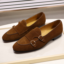 Sapatas marrons do vestido verde on-line-Design de Moda Suede couro Mens sapatos pretos verdes Brown Shoes vestido ocasional for Wedding Party Monk Strap Shoes