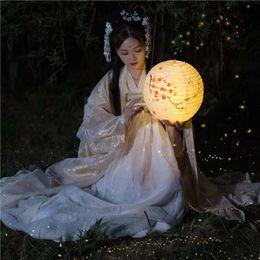 costumes de jupe d'or Promotion Tube d'or élégant Hanfu Vêtements traditionnels femmes costumes veste + jupe manches longues et grandes larges Costume unique robe uniforme