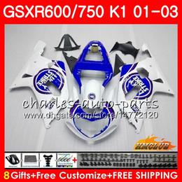 2019 kit gsxr k1 Corpo 8Gifts Para SUZUKI GSXR600 GSX R750 K1 quente Sorte azul GSXR-600 GSX-R750 4HC.28 GSXR750 GSXR 600 750 01 02 03 2001 2002 2003 Kit de Carenagem kit gsxr k1 barato