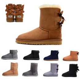 botas australianas Rebajas WGG castaño de las mujeres botas altas clásicas tobillo Bailey Bowknot Negro azul del café de la nieve del invierno del cuero para mujer de las botas australianas La mitad de la rodilla EUR36-41