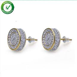 Cristal zirconia diamante online-Pendientes de diseño Joyas de Hip Hop Pendientes de lujo para hombre Stud Helado fuera Diamante Moda Oro Plata para Hombres Accesorios de cristal Bling